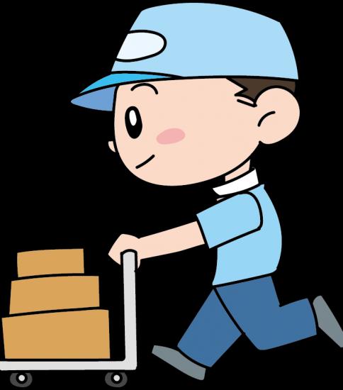 台車で荷物を運ぶ男性
