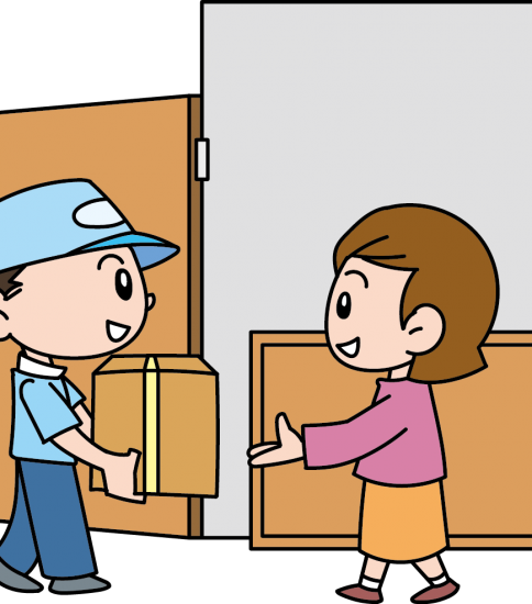荷物の引き渡しをする男性と女性