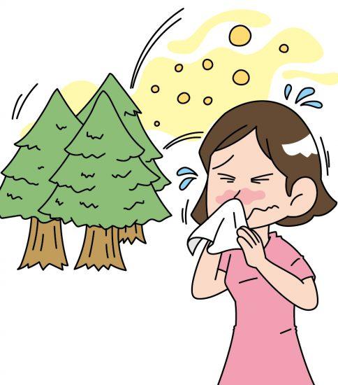 スギ花粉に反応する女性