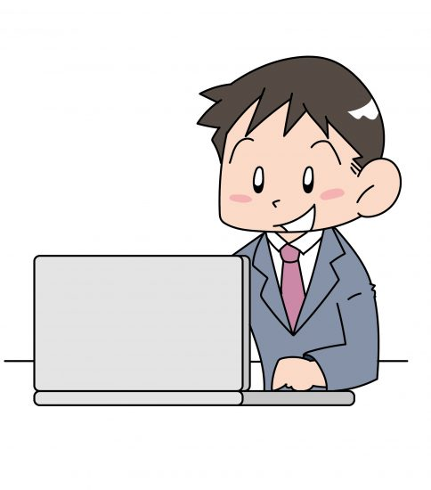 パソコンの調子がいい男性