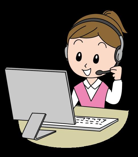 パソコンに向かいながら話すオペレーターの女性