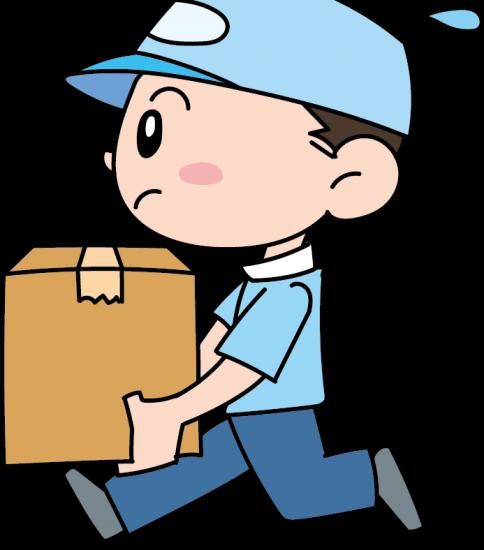 走って荷物を運ぶ業者の男性