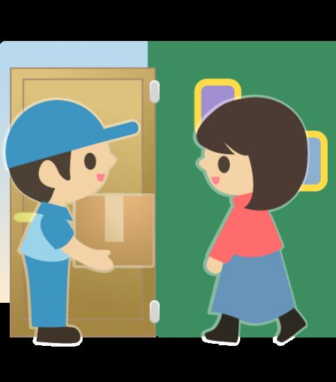 玄関で荷物を渡す業者の男性と受け取る女性