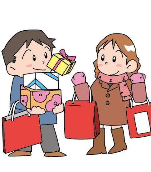 大量に買い物をした男女