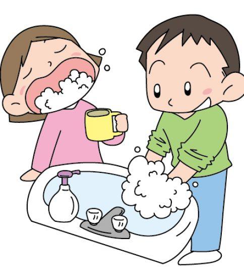 うがい、手洗いでインフルエンザ予防する子供