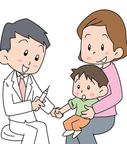インフルエンザの予防接種をするこども