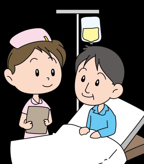 入院中の男性と看護婦