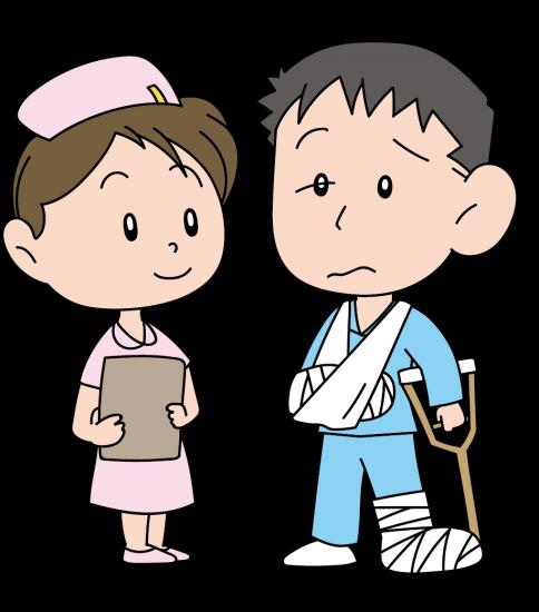 リハビリ中の男性と看護婦