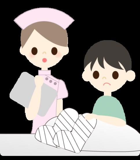 骨折中の男の子と看護婦
