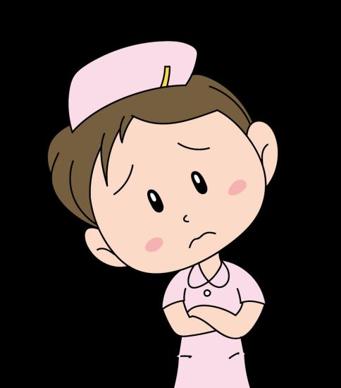 首をかしげる看護婦
