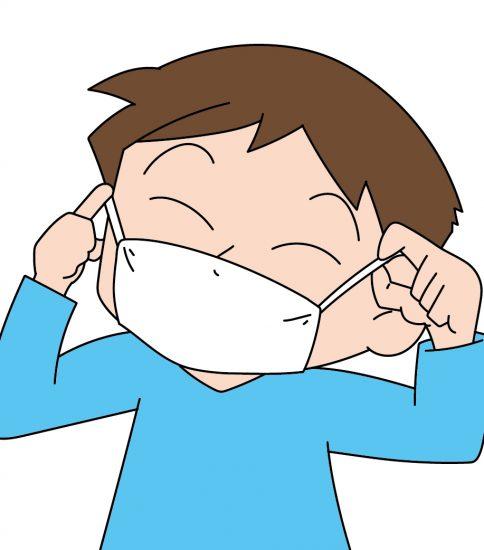 マスクをかける花粉症の男性