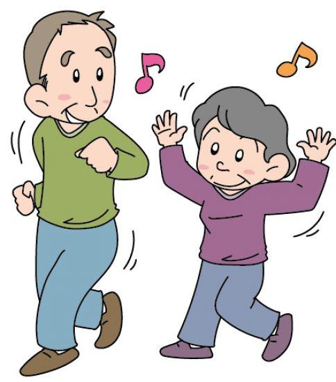 ダンスをする老人の男女