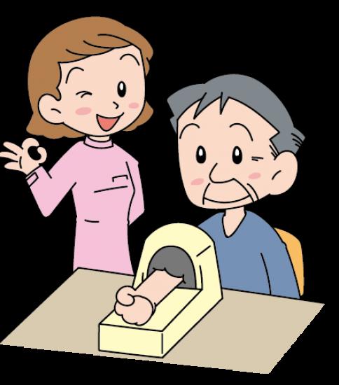 老人の血圧を測る女性