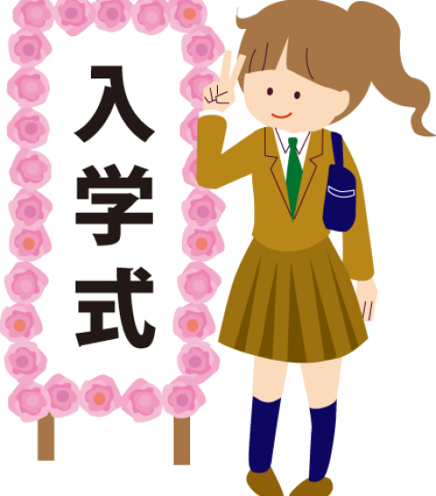 入学式で制服を着た女子高生