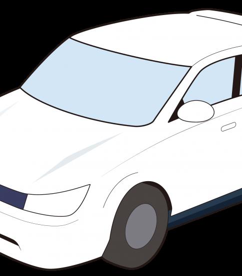 白い普通自動車
