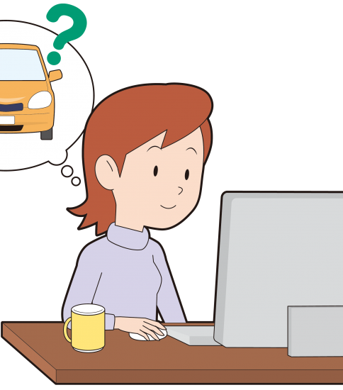 ネットで車の料金を調べる女性
