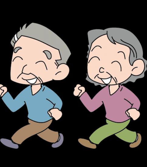 元気に歩くお年寄りの男性と女性