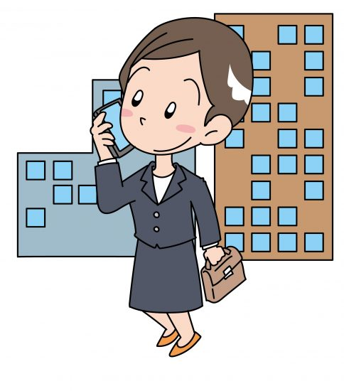 電話中の就活女性