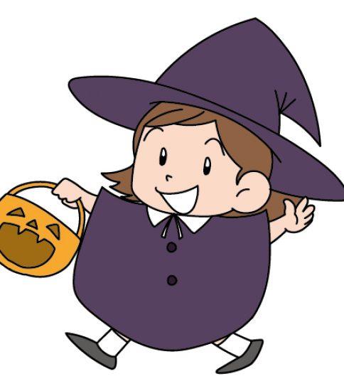 お菓子をもらいに歩く魔女の女の子