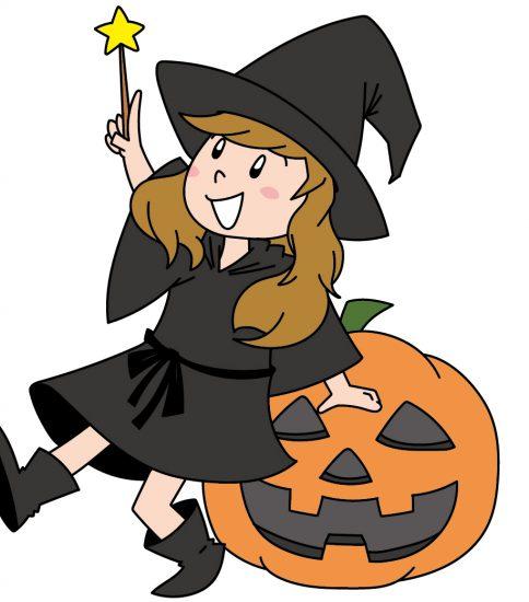 かぼちゃに腰かける魔女