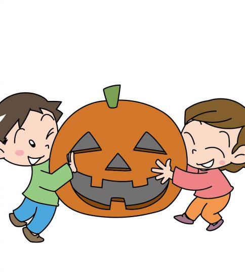 かぼちゃに抱きつく男の子と女の子