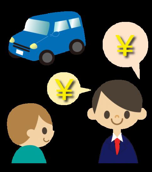 車に値段をつける男性