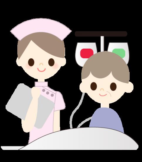 点滴をうける老人と看護師