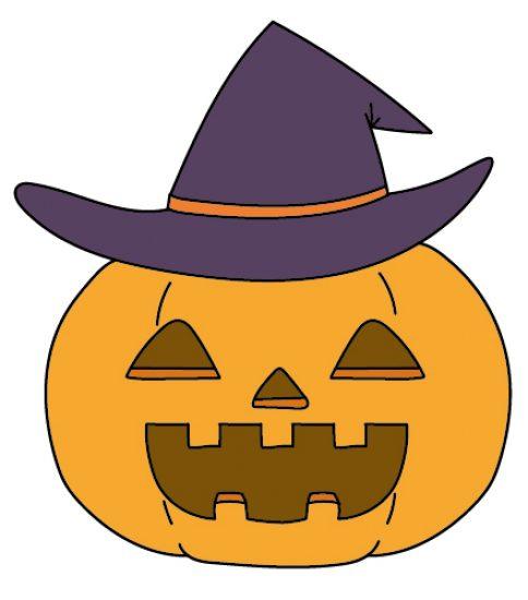 魔女の帽子をかぶったかぼちゃ