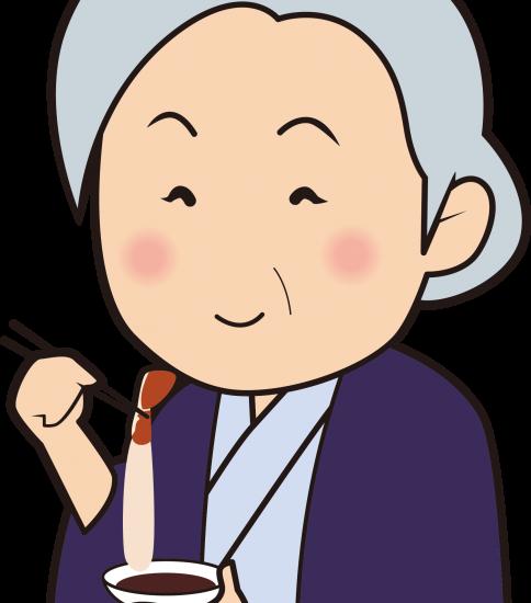 蟹を食べて喜ぶおばあさん