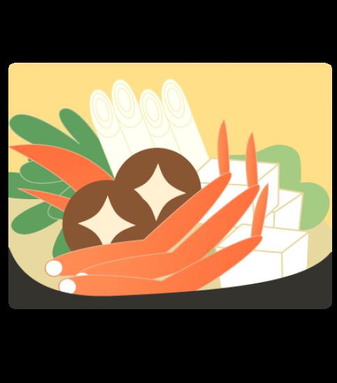 寄り気味なカニ鍋