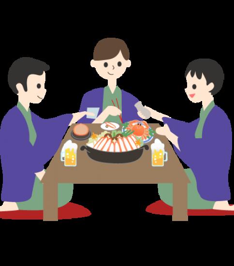 カニ鍋を囲む大人たち