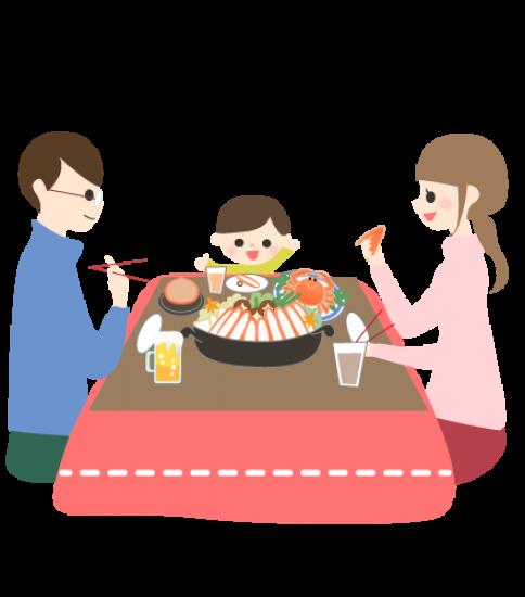 カニ鍋を囲む家族
