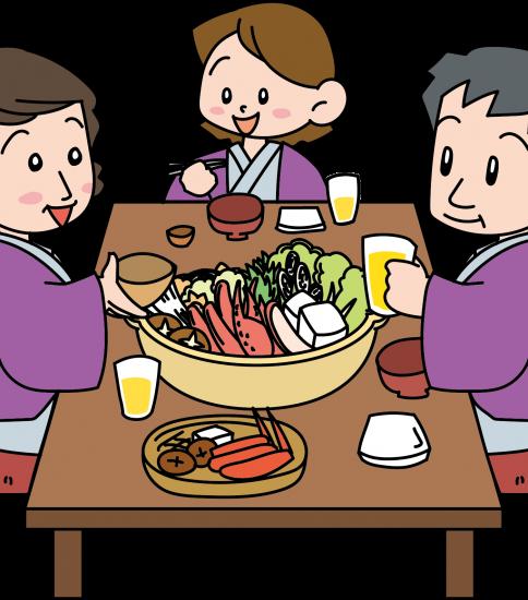 カニ鍋を食べる家族