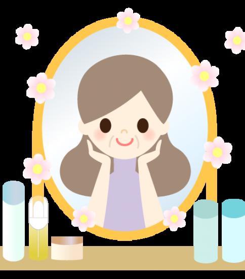 鏡の前でキレイになった肌に喜ぶ女性