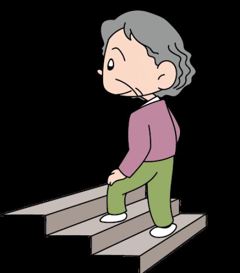 階段を登る老人女性