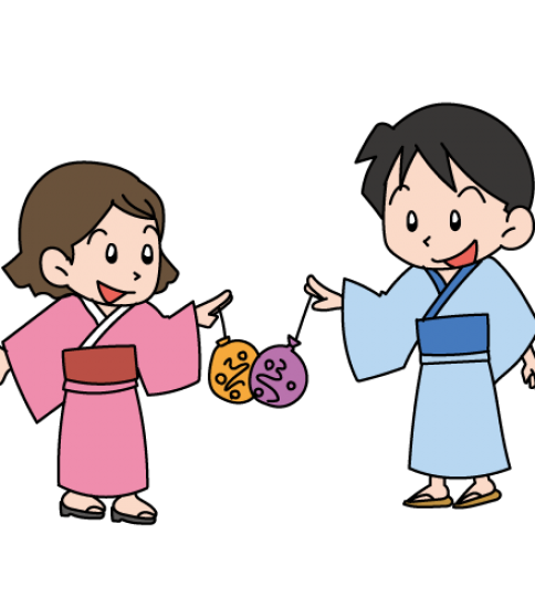 浴衣を着てヨーヨー風船で遊ぶ女の子と男の子
