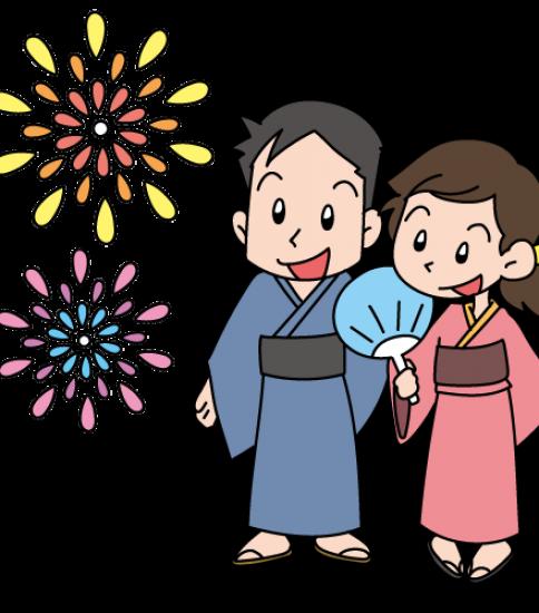 花火を見る浴衣姿のカップル