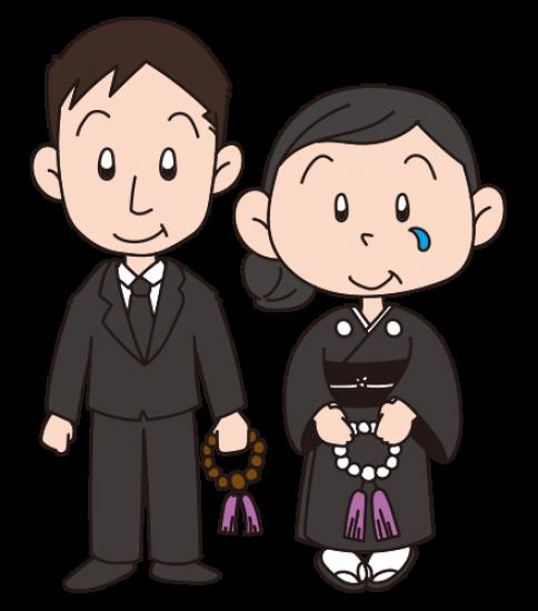 葬式で涙ぐむ夫婦