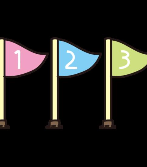 1位、2位、3位の旗