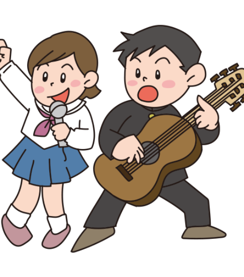 文化祭のライブに出場する男子と女子