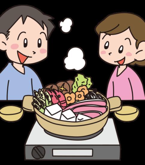 鍋を仲良く食べる男子と女子