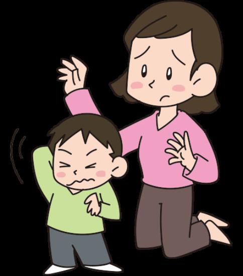肌が乾燥してかゆそうにしている男の子と慌てる母親