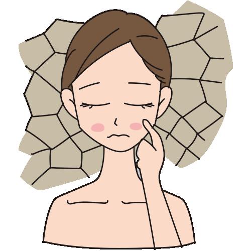 肌の乾燥に悩んでいる女性 – 無料イラスト素材ならイラストック