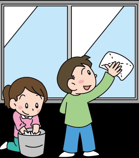 大掃除のお手伝いをする子供たち