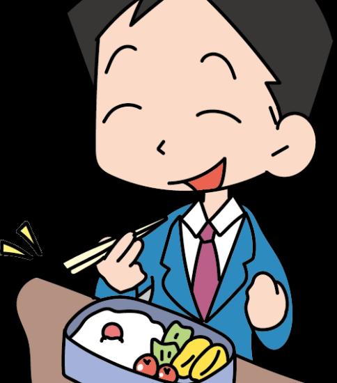 お弁当を食べるサラリーマン