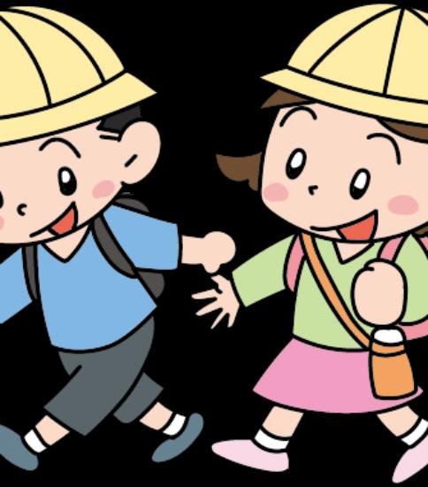 遠足に出かける男の子と女の子