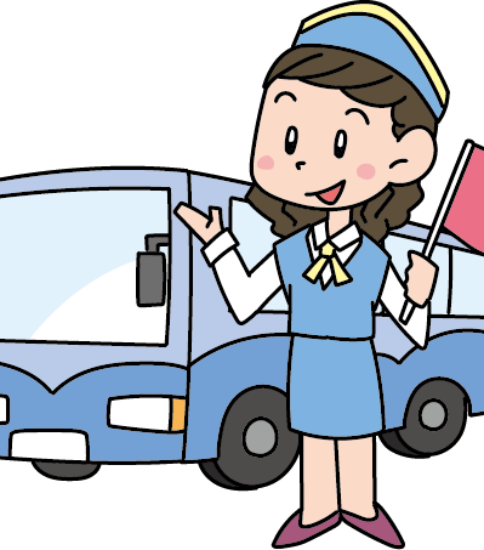 バスガイドの女性とバス