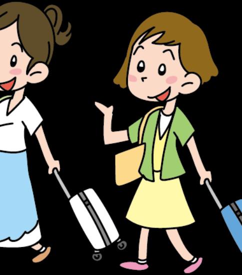 海外旅行へ行く女子二人