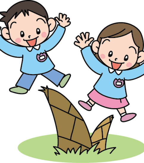 タケノコを見つけて喜ぶ園児たち