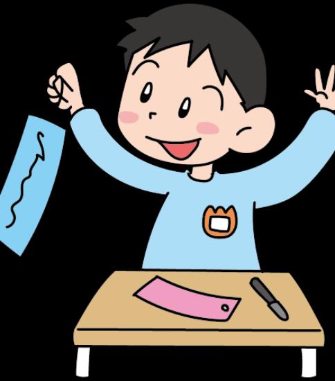 嬉しそうに短冊に願い事を書く園児